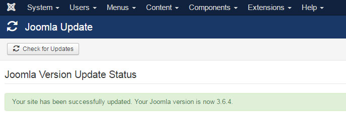 Joomla version update success