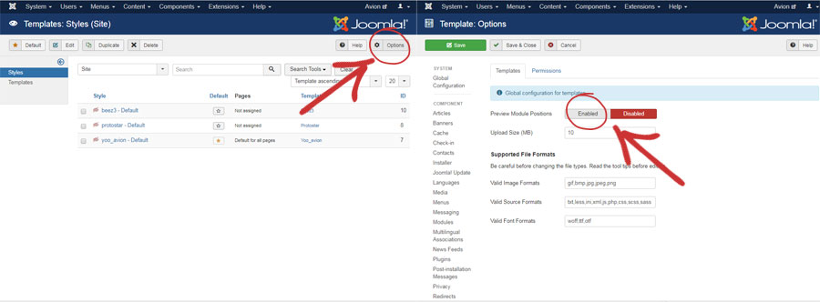 Preview module positions in Joomla templates